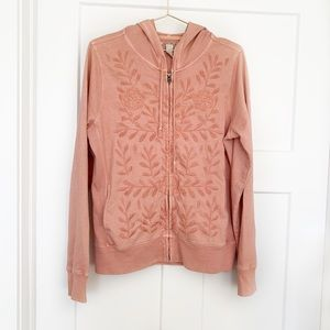 Lucky Brand Boho Embroidered Hoodie Jacket Pink L